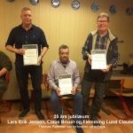 5)25 års jubilarer Lars E.Jensen, Claus Bruun, Flemming L.Clausen